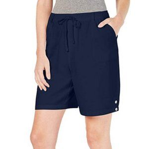 Karen Scott Cotton Drawstring Shorts Comfort Waist